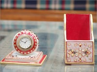 Marble Table Clock and Pen Holder
