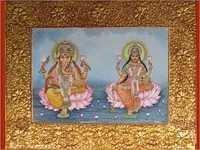 Lord Ganesha And Laxmi Oil Painting