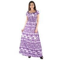 Rayon Elephant Print Purple Color Maxi Dress