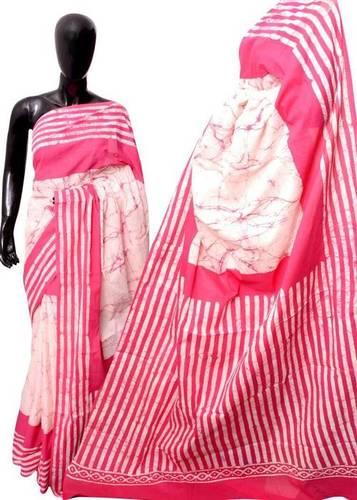 Pink Color HandBlock Saree