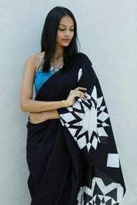 Black Batik Print Saree