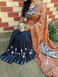 Hand Batik Print Saree