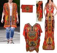 Digital Print Beachwear Chiffon Kaftan