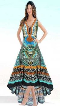 Digital Printed Chiffon Beachwear Kaftan
