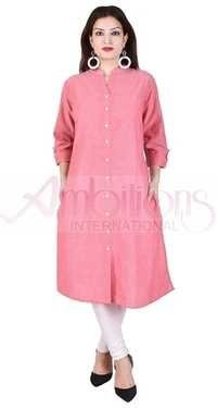 Ladies Plain Slub Kurti