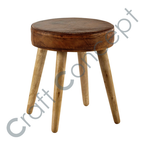MANGO & BROWN LEATHER STOOL