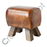 BROWN LEATHER ROSEWOOD STOOL