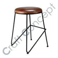 BROWN LEATHER & METAL STOOL