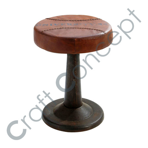 LEATHER & BLACK METAL STOOL