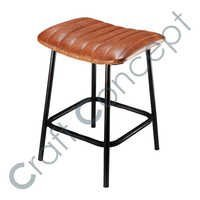 COWHIDE & METAL STOOL