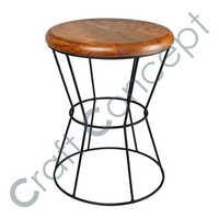 MANGO & BLACK METAL STOOL
