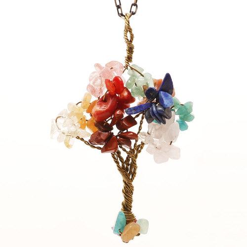 7 Chakra Natural Stone Tree Of Life Pendant