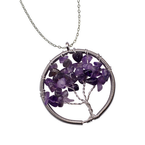 Amethyst Stone Tree Of Life Pendant