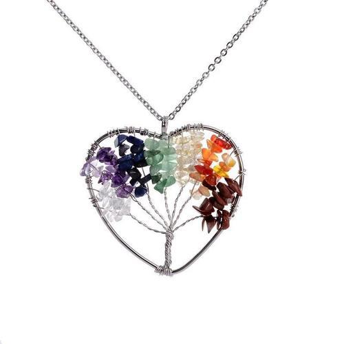 Heart Tree of Life 7 Chakra Pendant