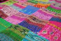 Indian Handmade  Kantha Bedspread Throw Silk Blanket