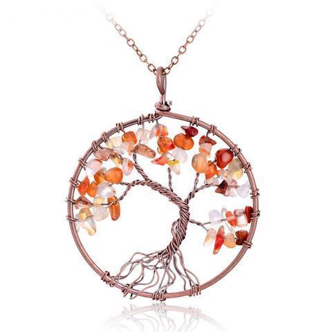 Tree Of Life Natural Stone Round Pendant