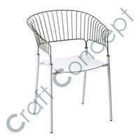 POOLSIDE WHITE METAL CHAIR
