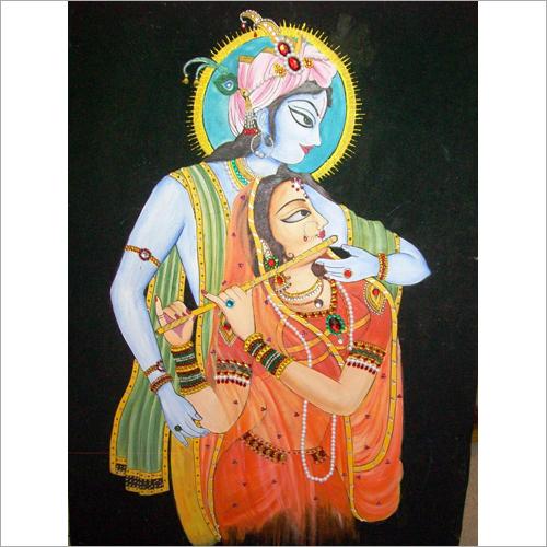 Radha Krishna Fabric Painting