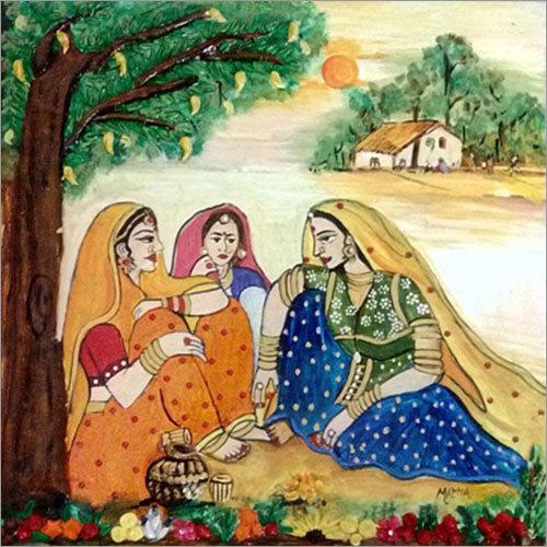 Village Scene Painting