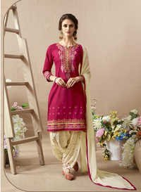 Exclusive Embroidery Work Semi-Stiched Patiala Suits