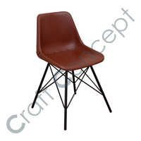 BROWN LEATHER & METAL CHAIR