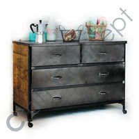 OLD LOOK METAL & WOOD DRAWER CHEST