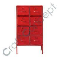 RED METAL DRAWER CHEST