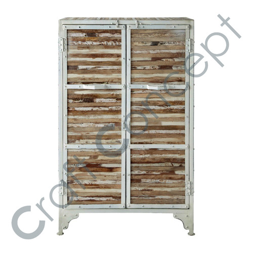 WHITE METAL & WOOD DRAWER CHEST