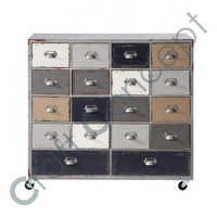 WOOD DRAWER CHEST WITH CASTERS