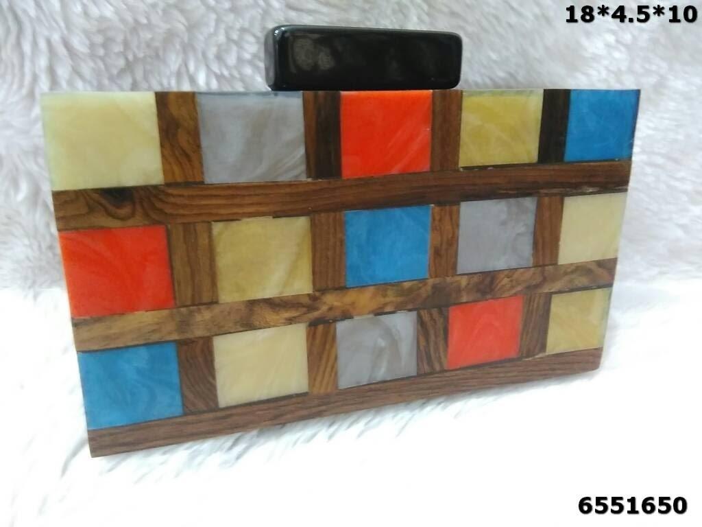Resin Design Wooden Clutch Box