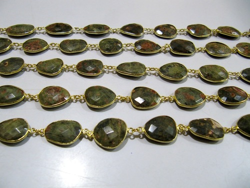 Genuine Unakite Nugget Connector Chain