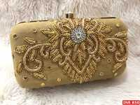 Raw Silk Dabka work Box Clutch (CSIBC1)