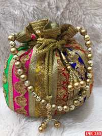 Embroidered Raw Silk Multi Color Potli (CSIPB8)