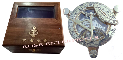 Nautical Marine Brass Sundial Compass with Box
