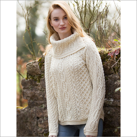 Ladies High Neck Knitted Cardigan