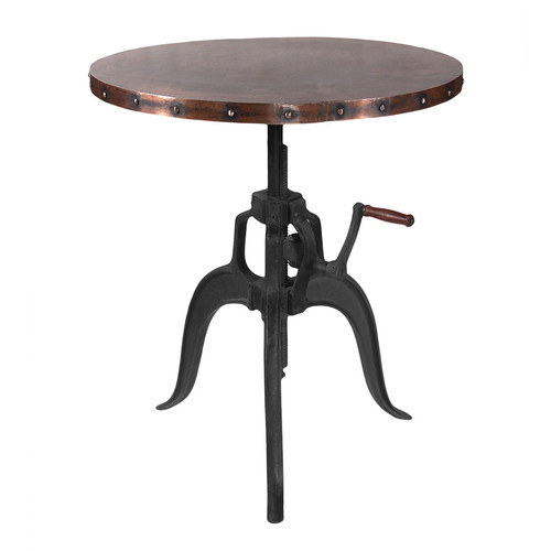 Trending round metal top industrial crank table