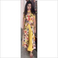 yellow printed front slit kurta with sharara
