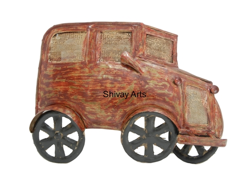 Shivay Arts Metal Iron Distress Rustic Finish Contemporary Car Wall Decor Wall Hanging
