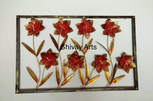 Shivay Arts Metal Iron Contemporary Designer Flower Wall Decor Wall Hanging Wall Mural