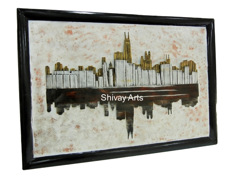 Shivay Arts Contemporary Designer Metal Iron City Building Wall Decor Wall Hanging Wall Mural