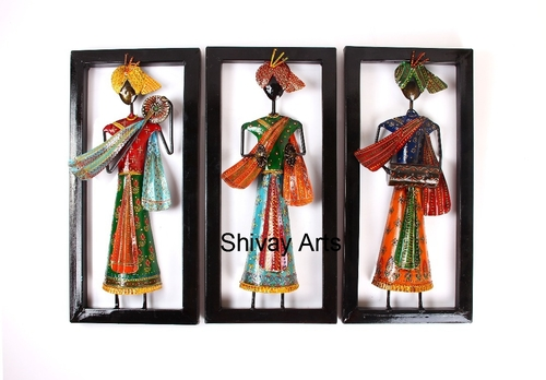 Shivay Arts Ethnic Rajasthani Colourful Metal Iron Musician Wall Decor Wall Hanging