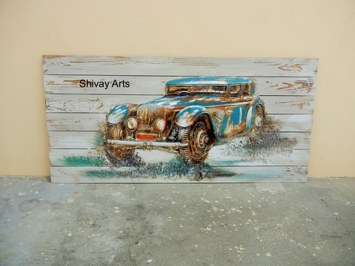 Shivay Arts Wooden Contemporary Designer Car Wall Decor Wall Hanging Wall Mural Wall Sculpture