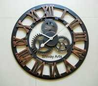 Shivay Arts Contemporary Designer Industrial Vintage Looking Wooden Wall Clock Wall Hanging