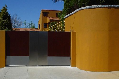 Stainless Steel Swing Gate with HPL Combination