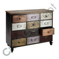 BLACK METAL DRAWER CHEST WITH CASTERS