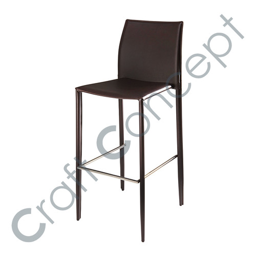 BLACK METAL & LEATHER BAR CHAIR