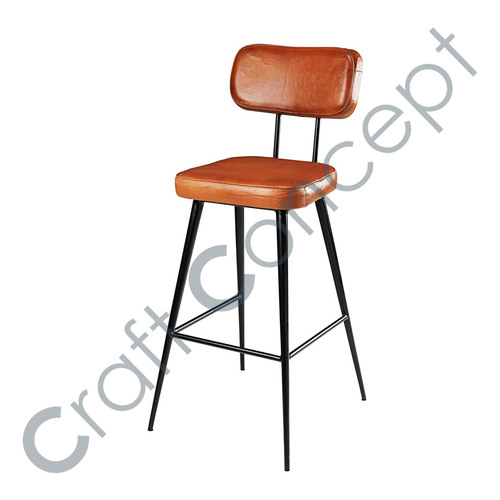 GOAT LEATHER & BLACK METAL BAR CHAIR