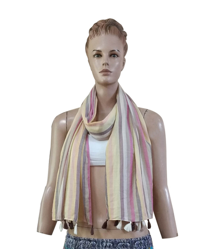 100% Cotton Stripe design  scarves with fringes