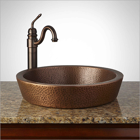 Semi-Recessed Copper Sink Hammered -Antique Copper