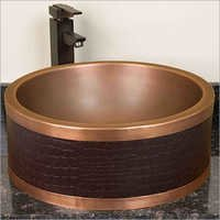 Faux Leather Double-Wall Copper Vessel Sink